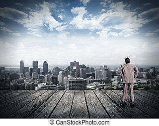 het kijken, zakenman, overzicht., stedelijke