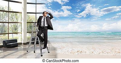 het kijken, zakenman, vacation.