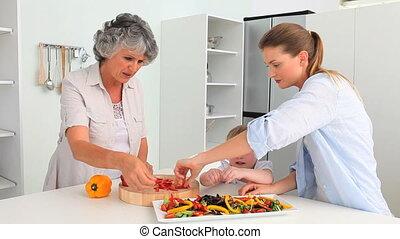 het koken, samen, gezin