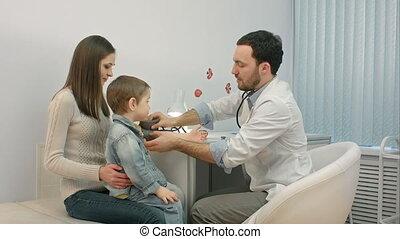 het meten kamer, arts, druk, examen, bloed, kind