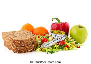 het meten van band, maaltijd, dieet
