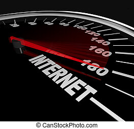 het meten, web, statistiek, -, hoog, verkeer, internet snelheid, of