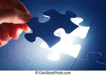 het oplossen, leest, vervolledigen, jigsaw, puzzle., problem., stuk, oplossing
