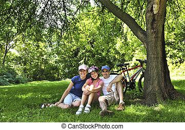 het rusten, park, gezin