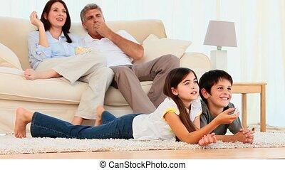 het schouwen rolprent, gezin