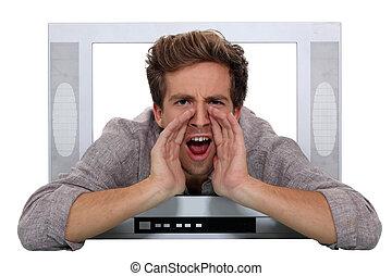 het schreeuwen, tv., door, man