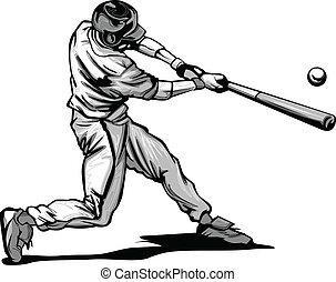 het slaan, honkbal deeg, vecto, pek