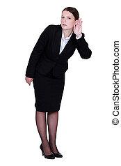 het spannen, businesswoman, oor, haar