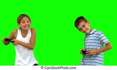 het spelen videospelletjes, siblings