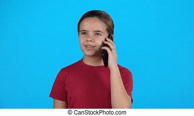 het spreken., slowmotion, telefoon, cel, klein meisje