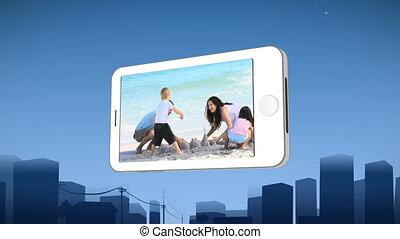 het tonen, buildin, gezin, smartphone