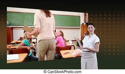 het tonen, klaslokaal, video's, vrouw