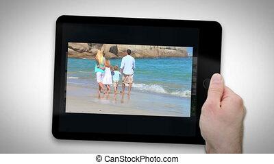 het tonen, tablet, families, computer