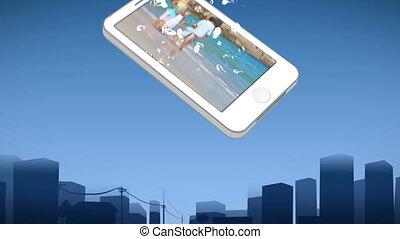 het tonen, wandelende, gezin, smartphone