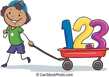 het trekken, 123, stok, zwarte jongen, wagon