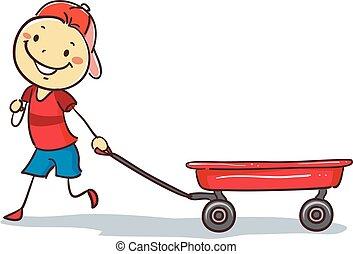 het trekken, stickman, jongen, rode wagen