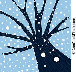 het vallen, boom winter, sneeuw