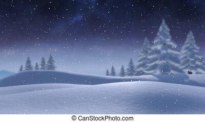 het vallen, platteland, sneeuw
