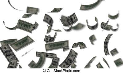 het vallen, rekeningen, dollar, zoals, regen