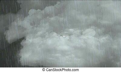 het vallen, vliegen, rain., wolk, &