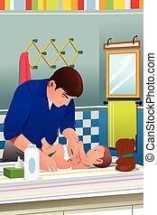het veranderen, vader, babyluier