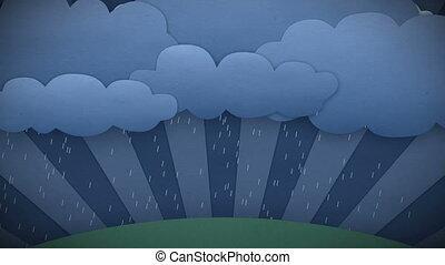 het veranderen, weather., sun., hd, regen