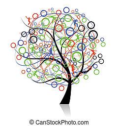 het verbinden, volkeren, boompje, web