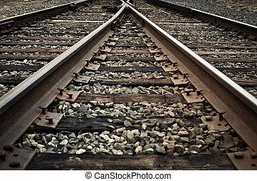 het verdelen, spoorweg, oud, stegen, rustiek, hardloop wedstrijd