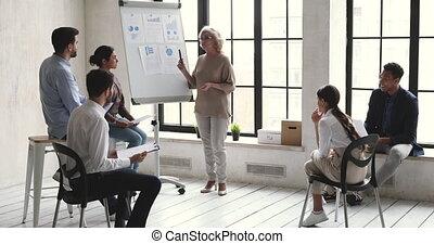 het verklaren, trainer, ontwikkelen, strategy., professioneel, marketing, middelbare leeftijd , vrouwlijk, zakelijk