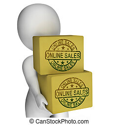 het verkopen, tonen, internet verkoop, dozen, online, aankoop