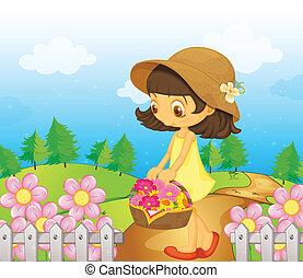 het verzamelen, meisje, bloemen
