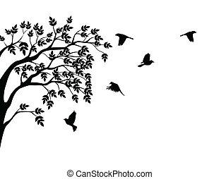 het vliegen van de vogel, silhouette, boompje