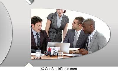 het voorstellen, montage, businessteam