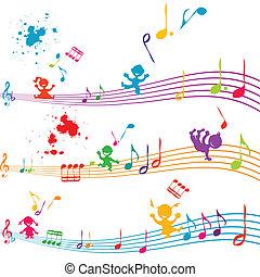 het zingen, geitjes, duig, gekleurde