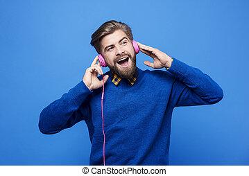 het zingen, headphones, muziek, luisteren, man