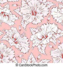 hibiscus, model, seamless
