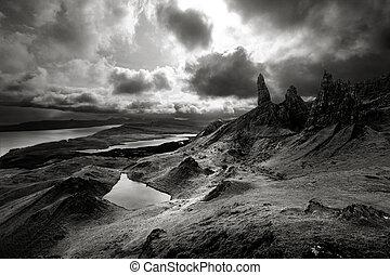 highlands, op, dramatisch, hemelen, schots, landscape, humeurig