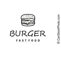 hipster, lijnen kunst, stijl, hamburger, logo, tekening, ontwerp