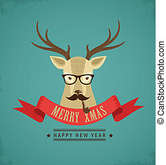 hipster, lint, hertje, kerstmis, achtergrond