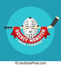 hockey, plat, masker, retro, logo