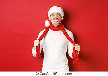 hoedje, sjaal, waanzinnig, haat, kerstman, rood, het schreeuwen, staand, man, achtergrond, kerstmis, op, volwassene, beeld, vervelend, boos, verontruste