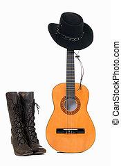 hoedje, westelijk, gitaar, &, land