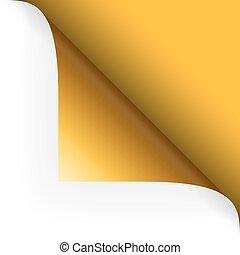 hoek, bovenzijde, papier, -, gele