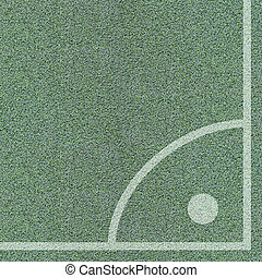 hoek, bovenzijde, voetbalveld, aanzicht