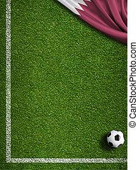 hoek, vlag, 3d, voetbal, illustratie, akker, qatar, bal