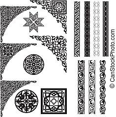 hoeken, arabische , ornament, verdeler