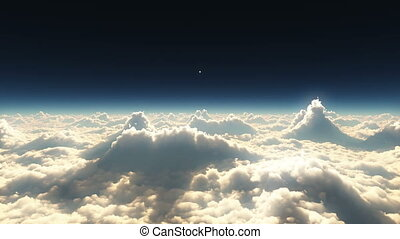 hoge wolken, ondergaande zon