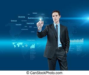 holographic, series., zakelijk, collection., jonge, feitelijke realiteit, toekomst, oplossingen, kies, interface., zakenman, een