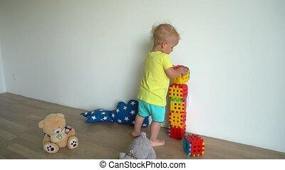 home., jongen, gebouw, gimbal, blokjes, structuur, weinig; niet zo(veel), motie, uit, schattig