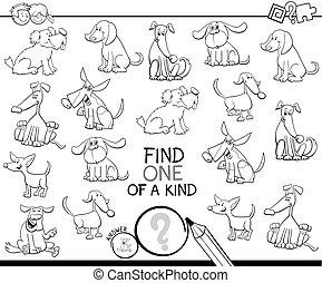 honden, spel, kleur, een, lief, boek